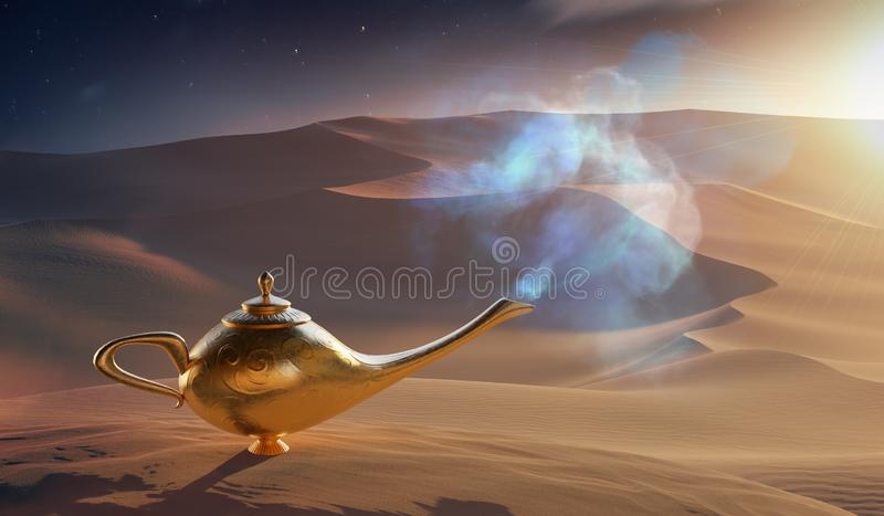 Magical Aladdin oil lamp with genie in desert. 3D rendered illustration. Magical Aladdin oil lamp with genie in desert. 3D rendered illustration royalty free illustration