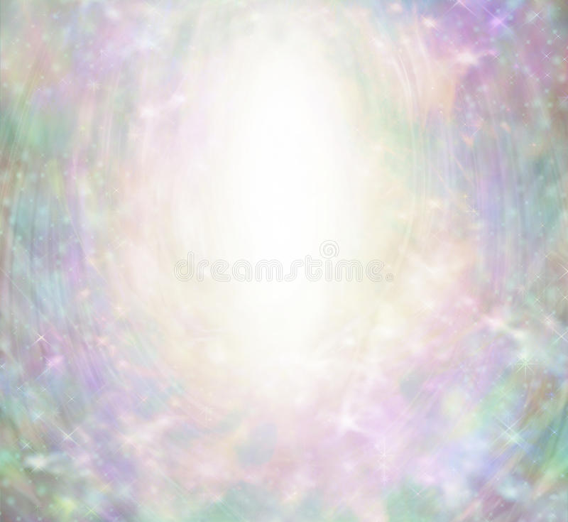 Magical Angelic Sparkling Border Background. White oval center with subtle fairy-like theme of pink, jade green, purple, gold colors and sparkles stock image