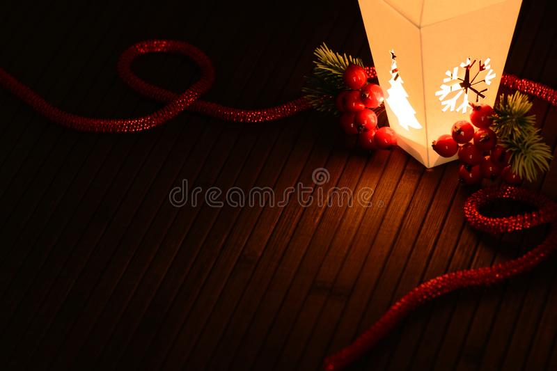 Magical arrangement of Christmas decor royalty free stock images