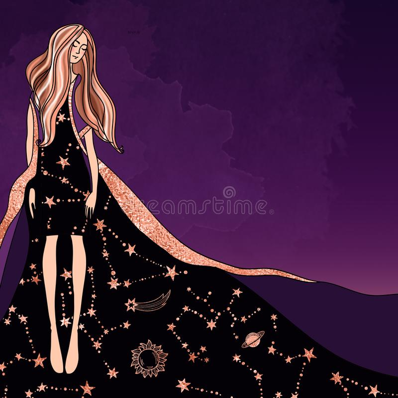 Magical astrologer girl in a dress with a  Zodiac  pattern on a trendy mystical purple background. royalty free illustration