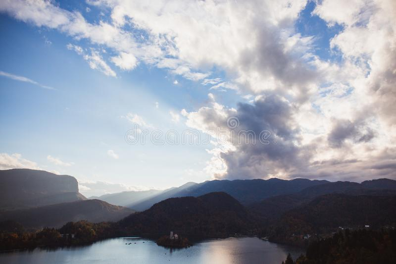 Lake Bled, island in the lake at sunrise in autumn or winter stock photo