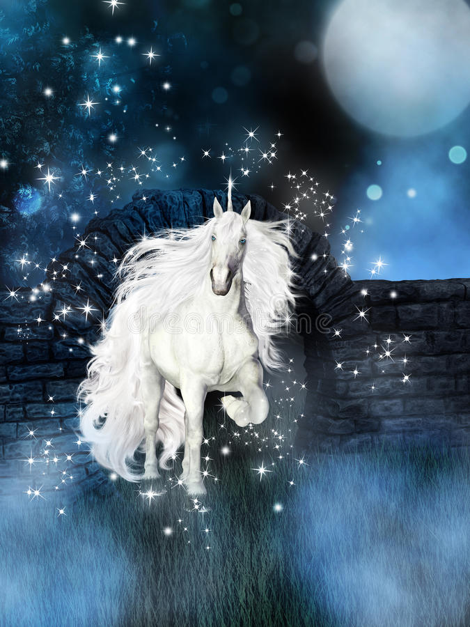 Magical background with white unicorn vector illustration