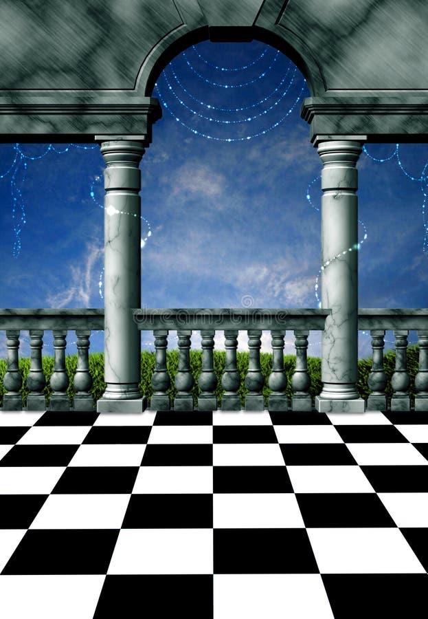 magical balkong royaltyfri illustrationer