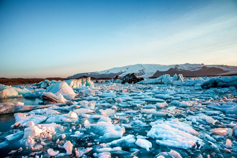 Magical beautiful landscape with ice depths in the famous Jokulsarlon glacial lagoon in Iceland. Exotic countries. Amazing places stock photos