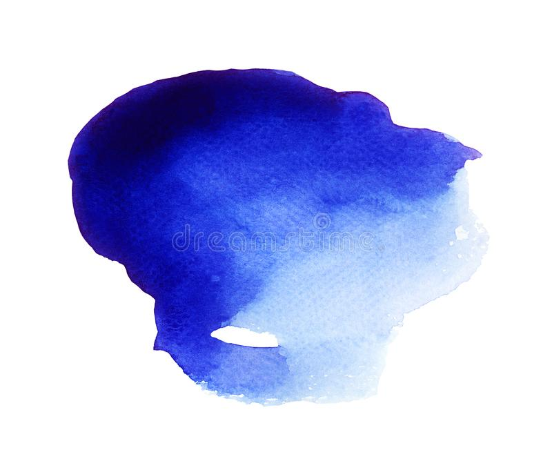 Magical Blob of Blue Watercolor. Handmade illustration of blue watercolor stock images