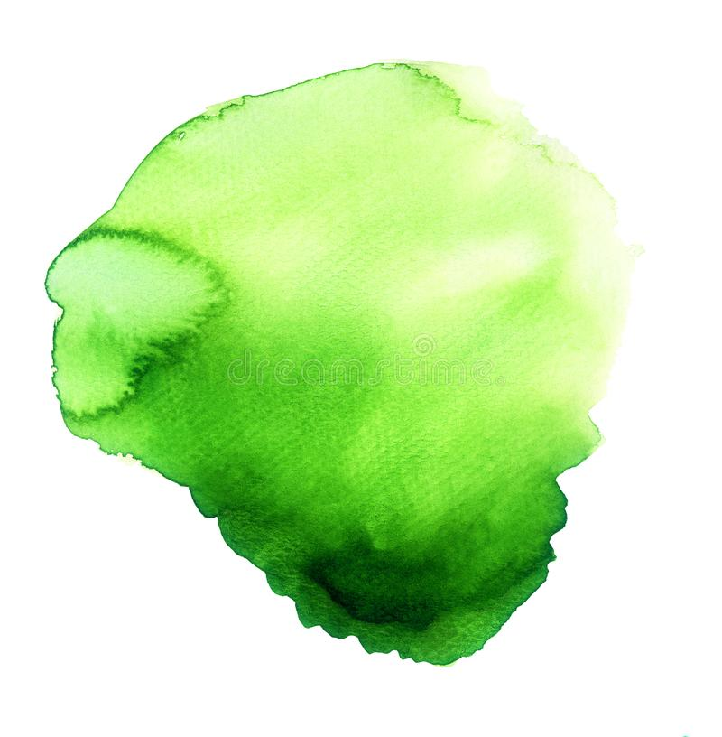 Magical Blob of Green Watercolor. Handmade illustration of green watercolor royalty free stock photo