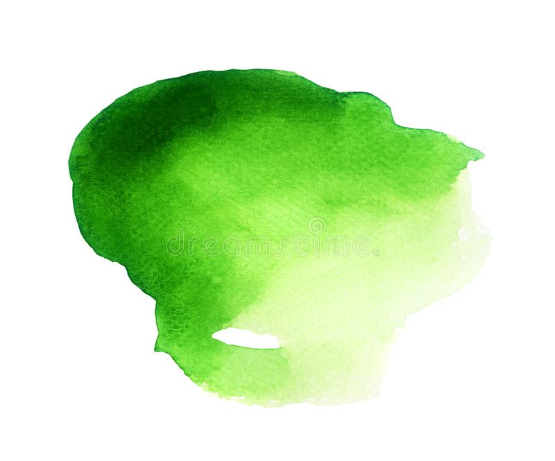 Magical Blob of Green Watercolor. Handmade illustration of green watercolor stock photos