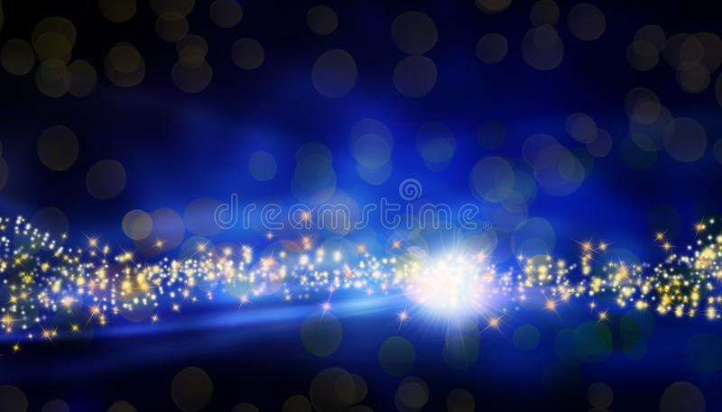 Magical blue Christmas background with bright stars and blurred lights royalty free stock photography