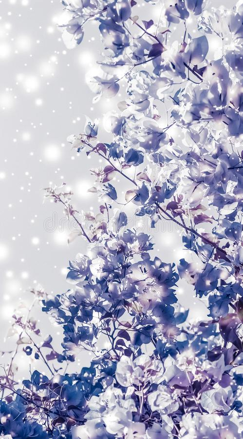 Christmas, New Years purple floral nature background, holiday card design, flower tree and snow glitter as winter season sale. Magical, branding and festive stock photography