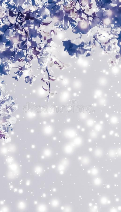Christmas, New Years purple floral nature background, holiday card design, flower tree and snow glitter as winter season sale. Magical, branding and festive stock photo