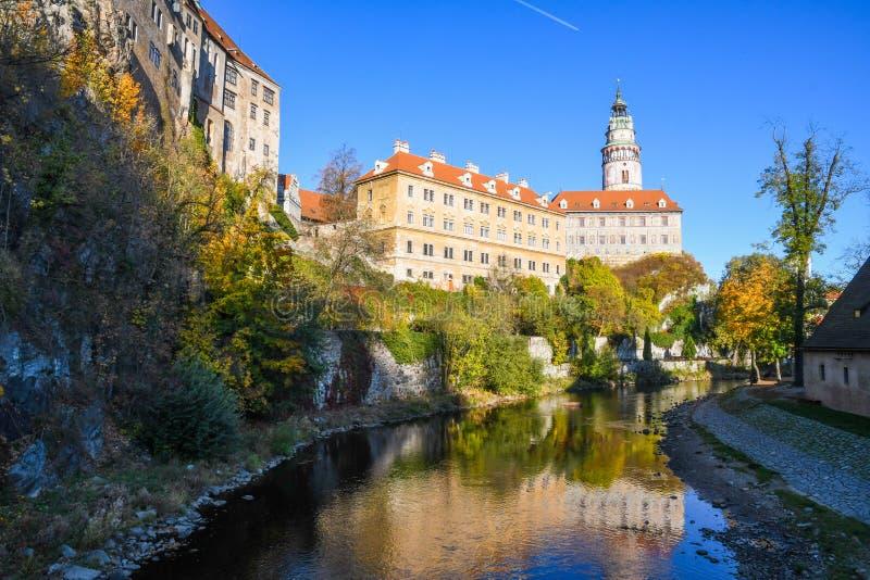 Magical castle in Cesky Krumlov stock photo