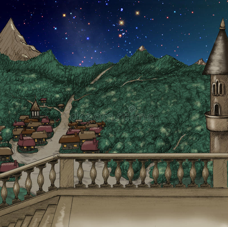 Magical castle at night near small town stock illustration