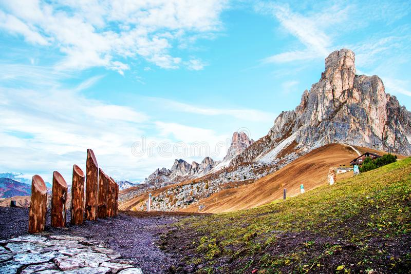 Magical charming autumn landscape with mountain on Passo Giau near S. Lucia in the Dolomites in South Tyrol, Alps, Italy. Exotic stock photos