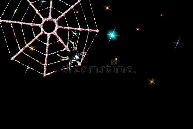 Magical Christmas card image of frosty spider web decoration. stock images