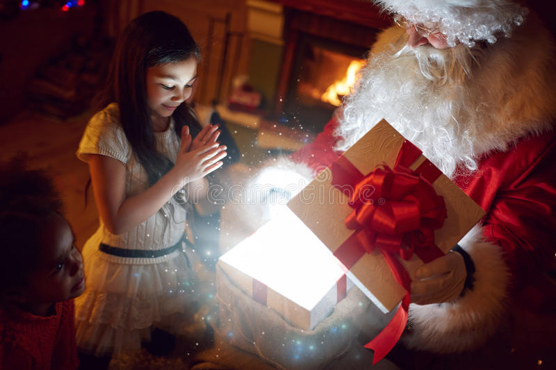 Magical Christmas gift. From Santa Clause royalty free stock images