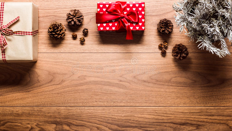 Magical christmas theme background, on wooden table stock photos