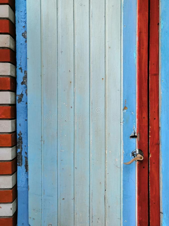Magical Color Old Blue Red White Grunge Door with castle royalty free stock photos