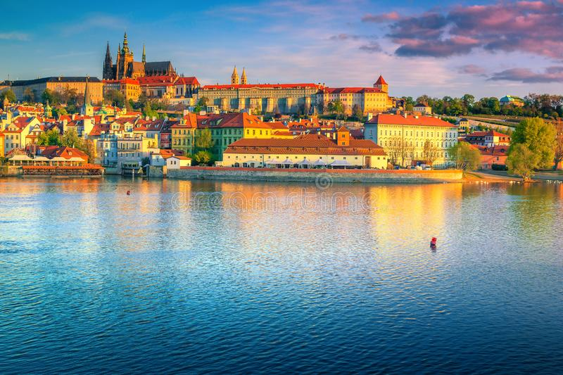 Magical colorful sunrise with historic buildings in Prague, Czech Republic. Popular travel and touristic destination. Fantastic Prague castle with famous royalty free stock photos