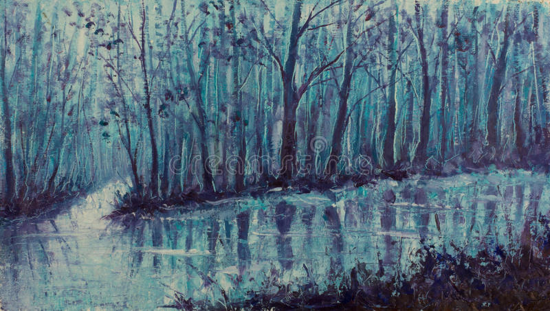 Magical creek. River in mystical forest. Impasto artwork. vector illustration