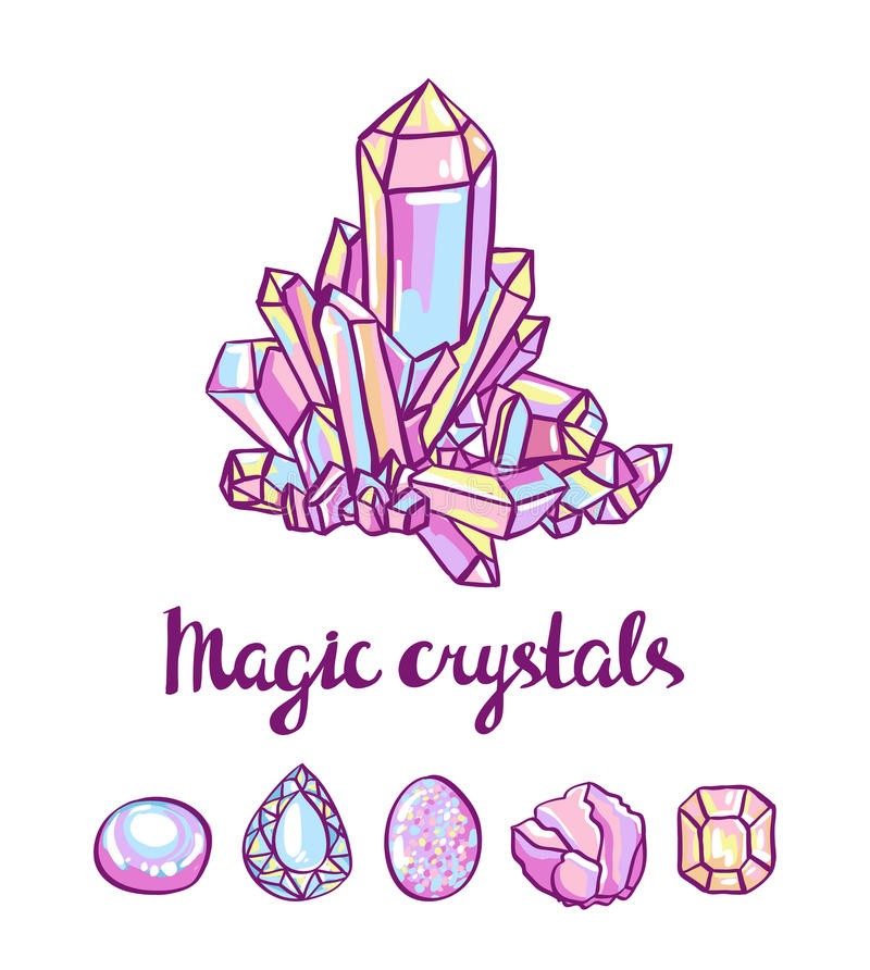Magical crystals. Jeweler card. royalty free illustration
