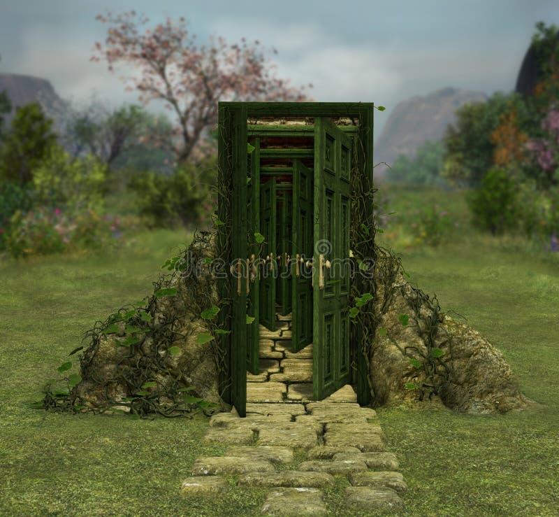 Magical door doorway into infinity royalty free stock photos