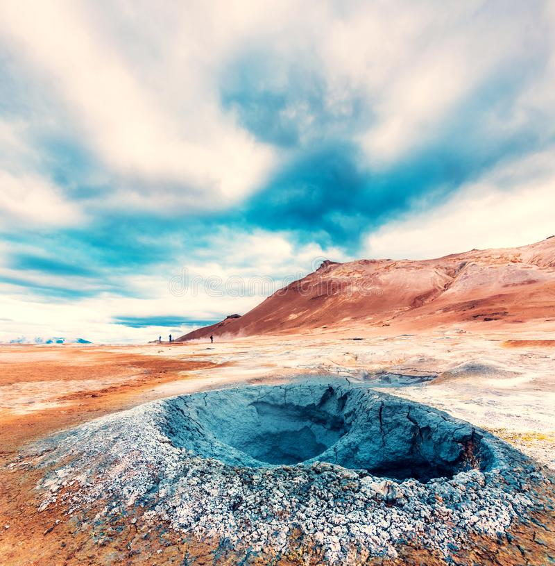 Magical dramatic scene with geothermal swamp and volcanoes  in Hverir Hverarond valley  in the Myvatn region. Iceland. Exotic. Countries. Amazing places stock images