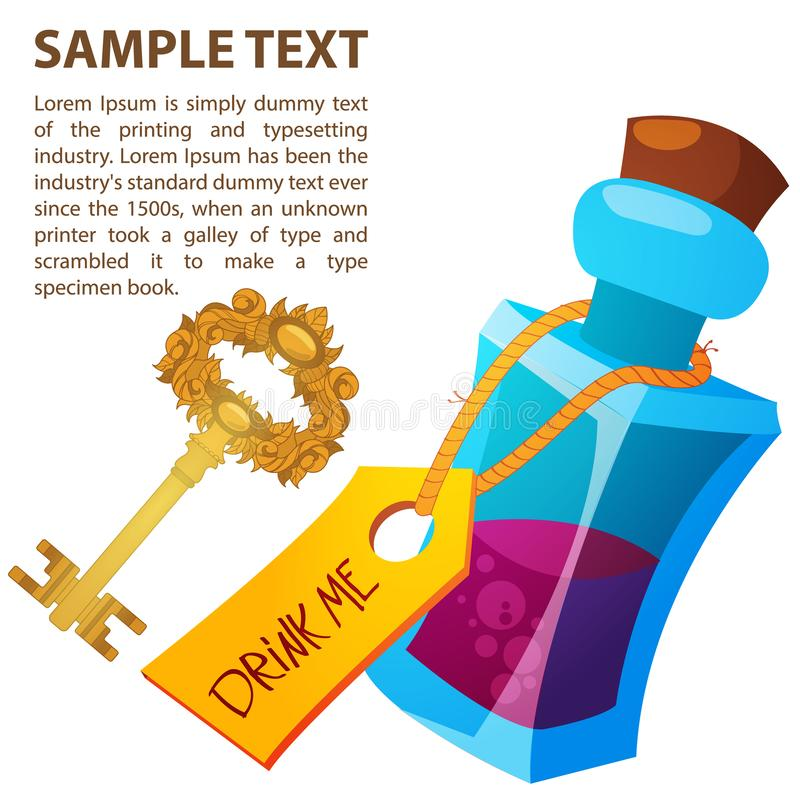 Magical elixir and golden key in a glass bottle. Illustration to the fairy tale Alice`s Adventures in Wonderland. Template with place for text royalty free illustration