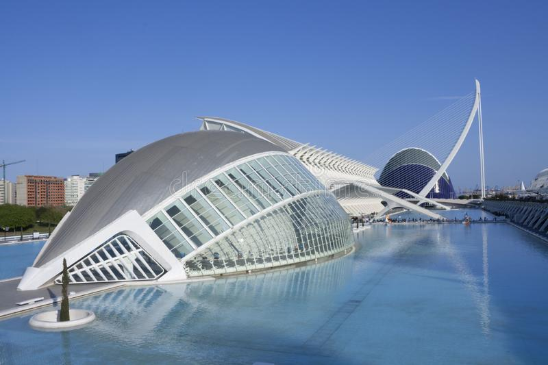 Blue sky and water blue in the city of sciences. royalty free stock image