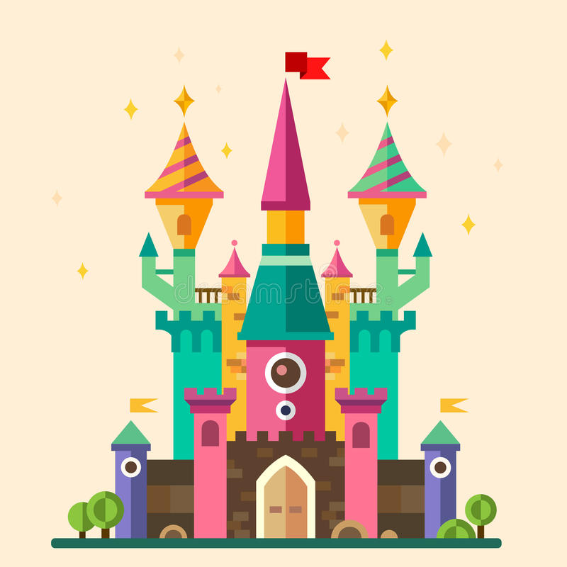 Magical fabulous cartoon castle stock illustration