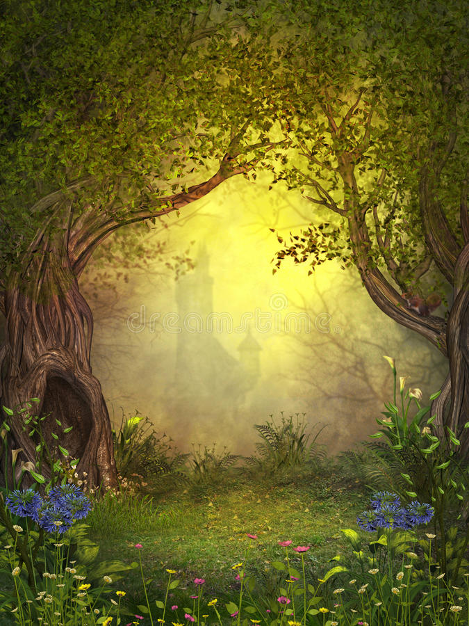 Magical Fairy Woods Stock Illustration Illustration Of