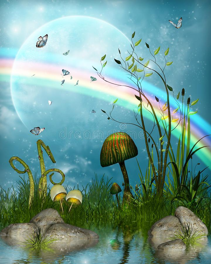 Magical fairytale landscape under a rainbow. Magical fairytale landscape with a pond under a rainbow, 3d render illustration stock photography