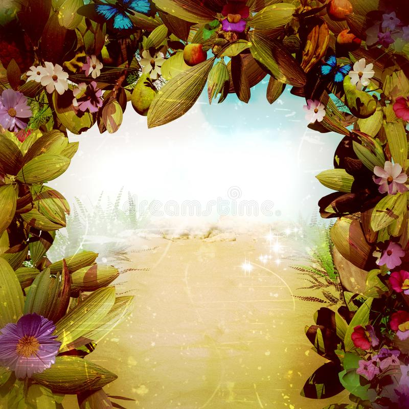 Magical Fantasy Flower Gate. A close up from a gate full of plants flowers,fruits and butterflies with a misty vibrant background stock illustration