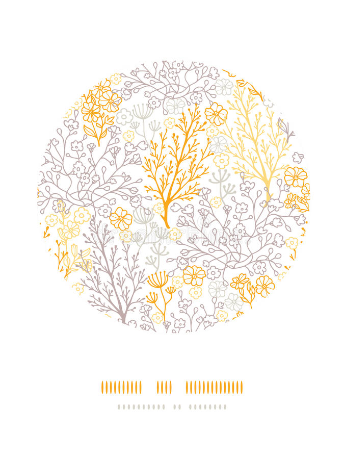 Magical floral circle decor pattern background stock illustration
