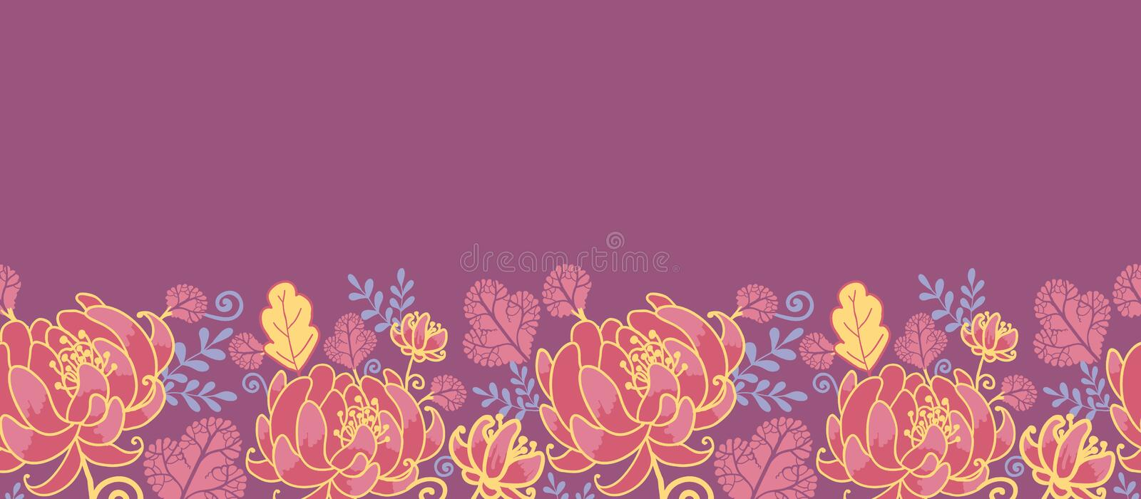 Magical flowers horizontal seamless pattern