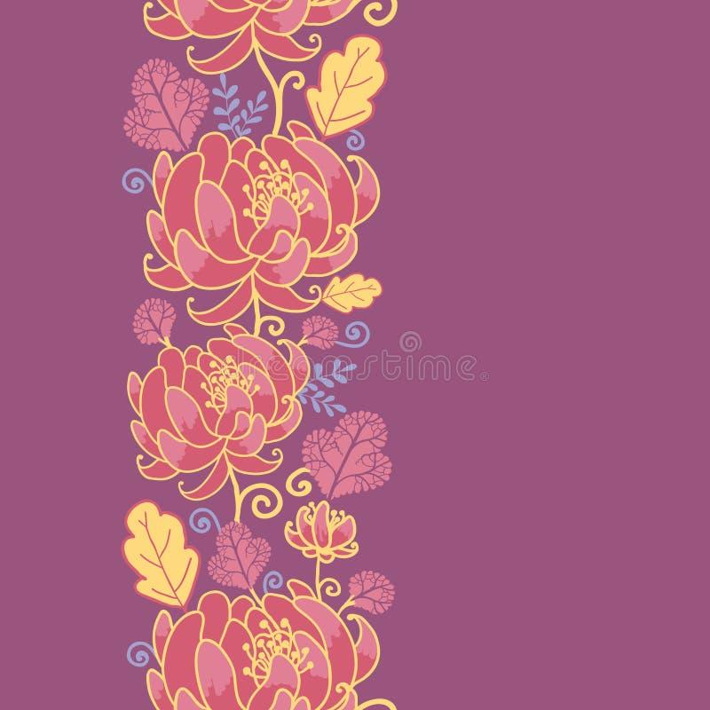 Magical Flowers Vertical Seamless Pattern Stock Photos