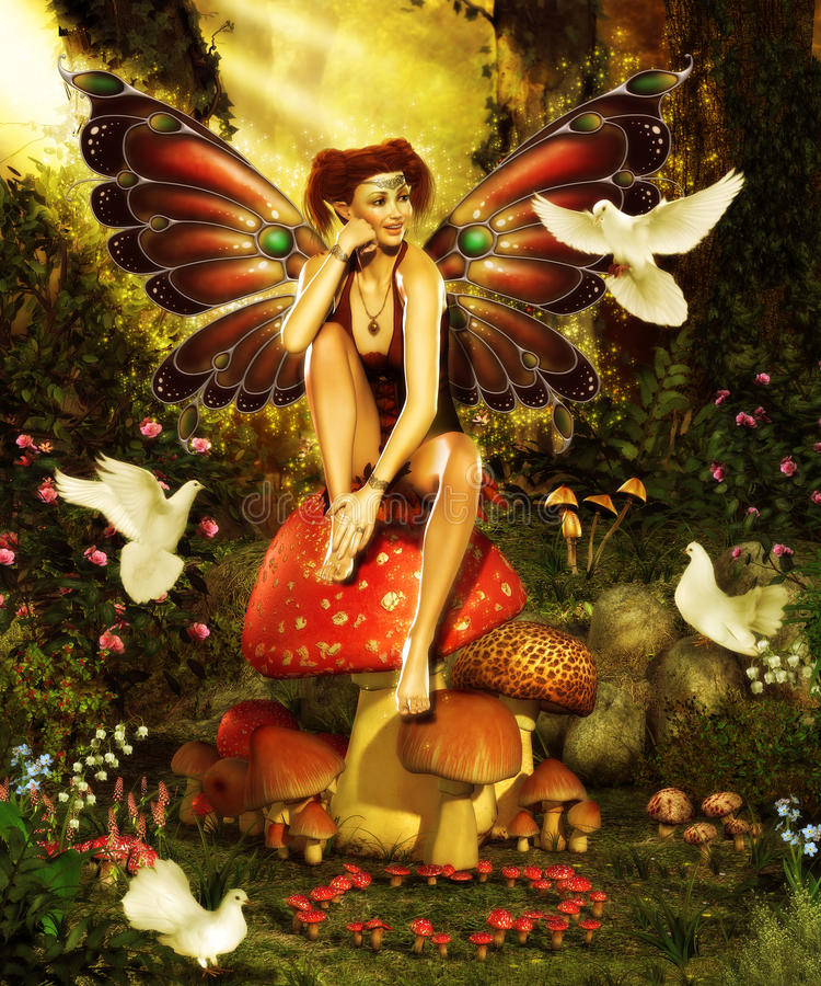 Magical Forest Fairy stock illustration