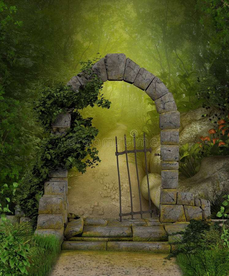 Paintings Of Cobblestone Paths : Magical forest path stock illustration of