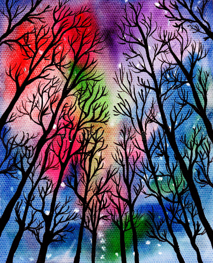 Magical forest. Watercolor. Enchanted Forest on a colorful background. Watercolor. Handmade vector illustration