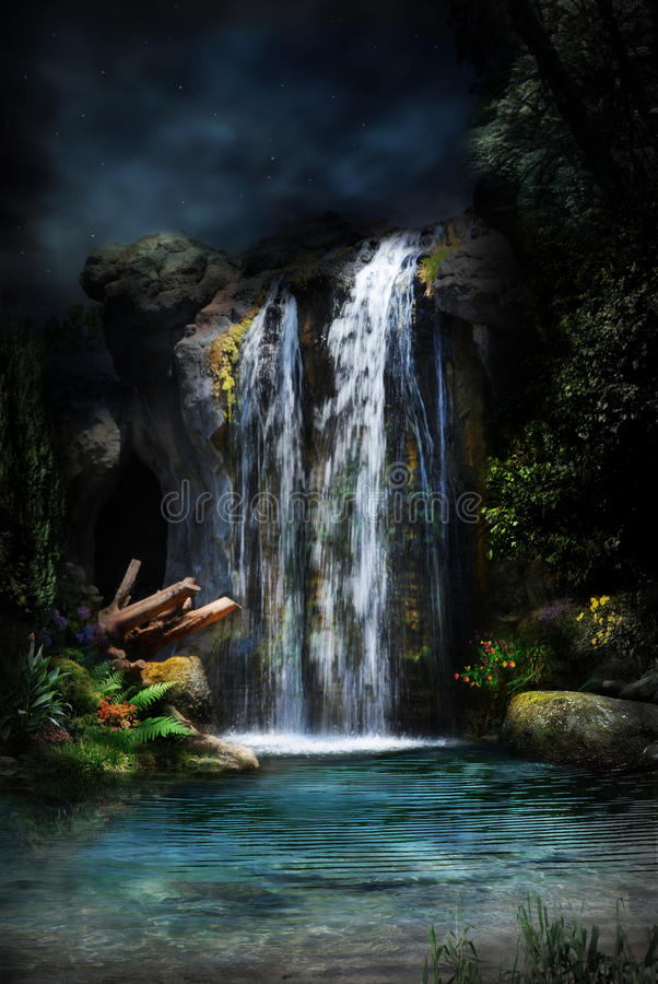 Free Magical Forest Waterfall-2 Royalty Free Stock Photo - 17539625
