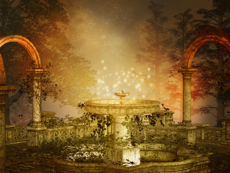 Magical fountain royalty free illustration