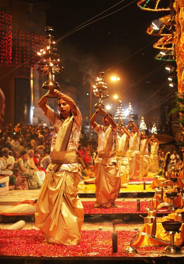Magical Ganga aarti at varanasi royalty free stock photography