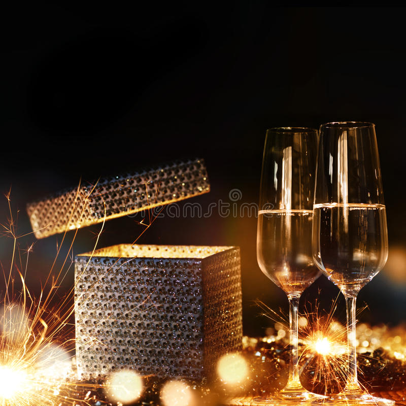 Magical gift with champagne royalty free stock image