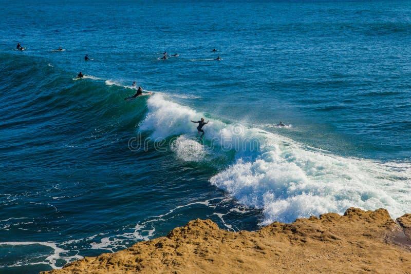 The magical huge waves in the bay of santa barbara make this a s royalty free stock photo