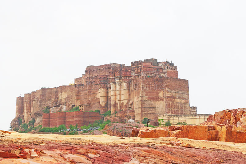 Magical Mehrangarh Fort, Jodhpur, Rajasthan,india. This magical magnificent and huge fort contains seven gates, the main ones are Jayapol and built by Maharaja stock image