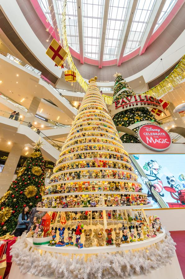 Magical Mickey Tree with 1,000 specially designed Mickey figurines Christmas decoration in Pavilion Kuala Lumpur. royalty free stock image
