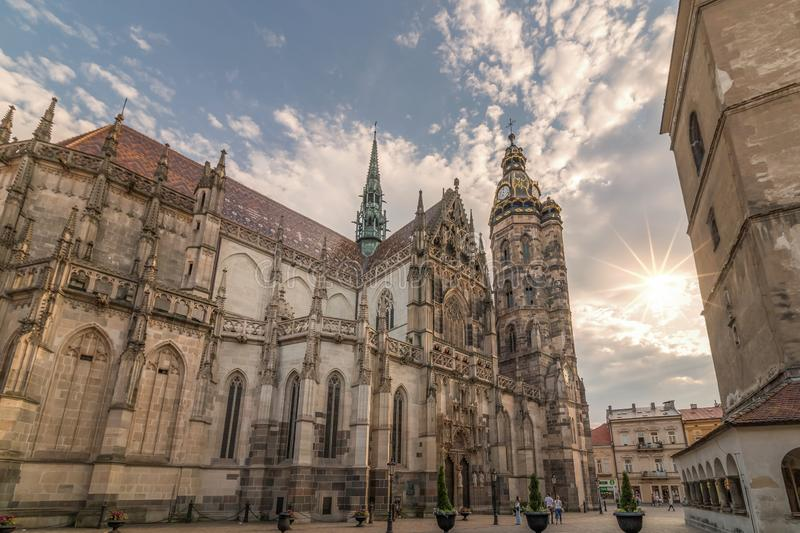 Magical moment and majestic cathedral. Magical moment with sunrays near wonderful St. Elisabeth Cathedral located in old town of Košice, Slovakia royalty free stock photo
