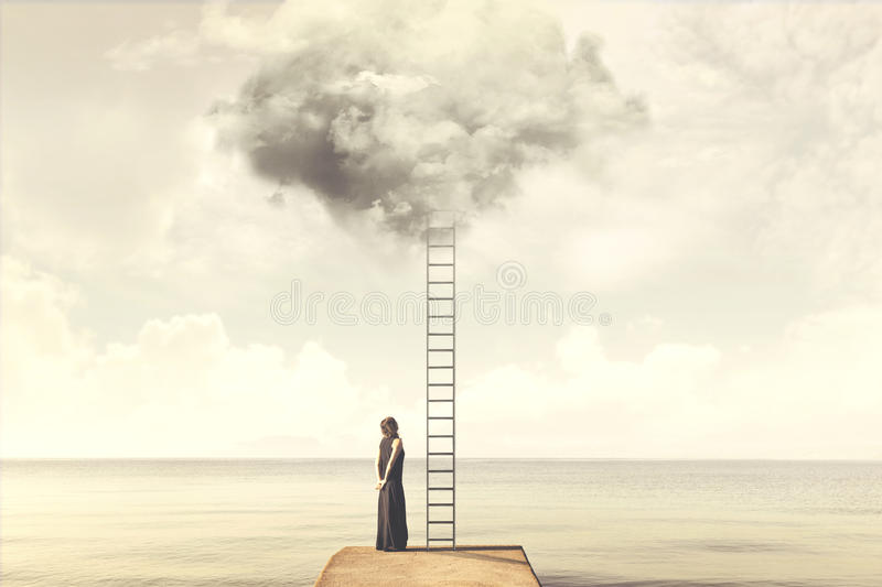 Surreal moment of woman climbing an imaginary scale to the clouds. Magical moment of woman climbing an imaginary scale to the clouds royalty free stock photo