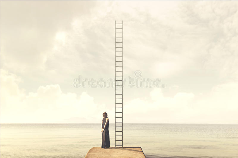 Surreal moment of woman looking an imaginary scale to the clouds. Magical moment of woman looking an imaginary scale to the clouds stock images