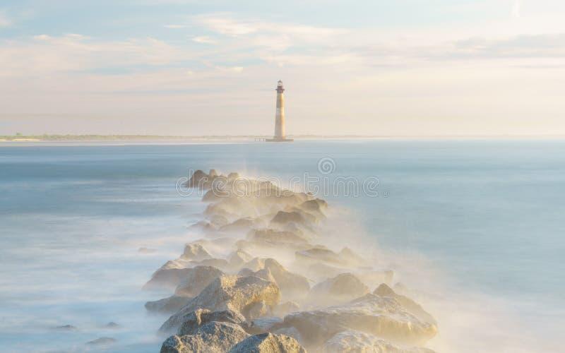 Magical Morning Above Morris Island Lighthouse. Morris Island Lighthouse Folly Beach, South Carolina royalty free stock photos