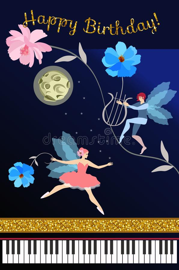Magical music. Greeting card or poster with concert grand piano, charming fairy ballerina, elf with lyre, moon, stars, flowers vector illustration